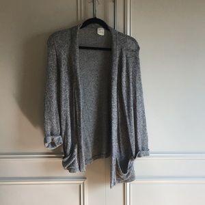 Marled grey three quarter sleeve open sweater